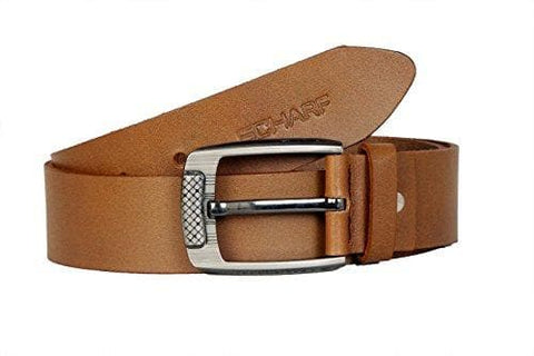 Tan 100% Leather Belt with Metallic Buckle