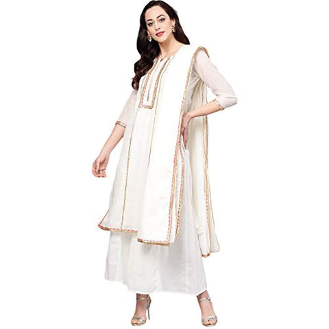 Off White A Line Salwar Suit Set by Bhama Couture