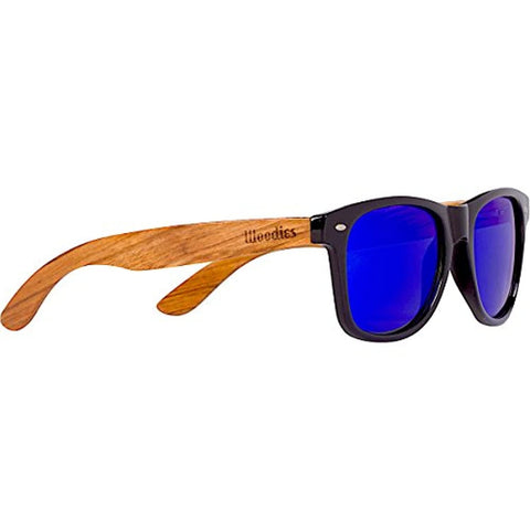 Zebra Wood with Blue Mirror Polarized Lens Sunglasses