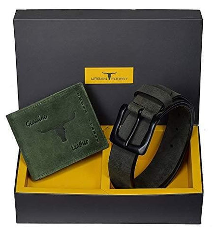 Carter Grey Leather Wallet and Belt Combo Gift Set
