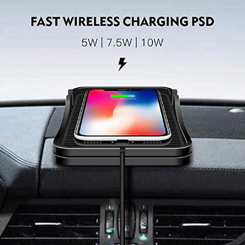 Wireless Car Mobile Charging Pad, QI Enabled 10W Quick Charging Dashboard Anti-Slip Mat for iPhone, Android & All QI Enabled Devices