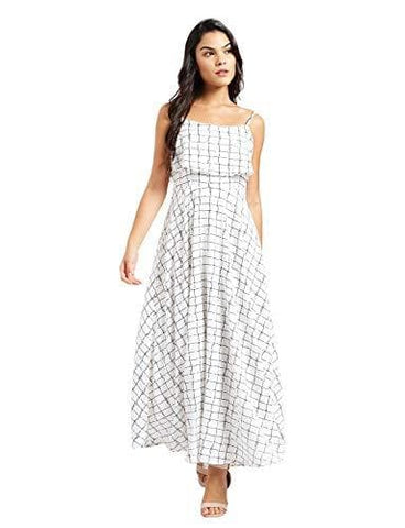 Off White Shoulder Straps Sleeveless Polyester Flared Maxi Dress