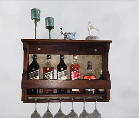 Wooden Wall Hanging Design Bar Solid Wood Make Wine Storage Cabinet with Glass Hanging Space-Teak Finish