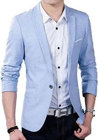 Sky Blue One Button Slim Fit Blazer