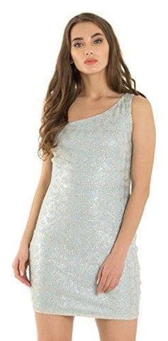 Silver Sleeveless Asymmetric Polyester One-shoulder Dress