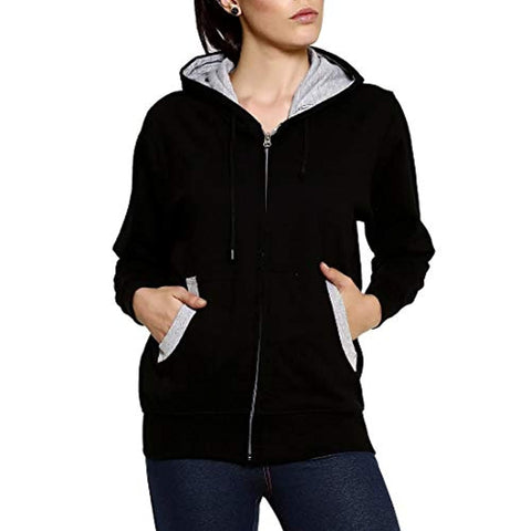 Black Front Zip Full Sleeve Cotton Hoodies Pullover