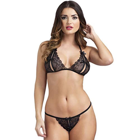 Tie Up Halter Neck Peek-A-Boo Black Lace Bra and Crotchless G-String Set