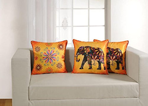 "Printed Vibrant Color 5 Piece Cushion Cover Set - 16""x16"", Multicolor"