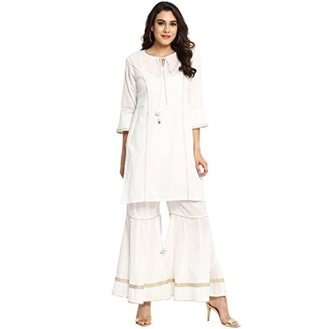 White A Line Salwar Suit Set by Bhama Couture