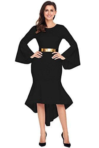 Regular Fit Bell Sleeve Black Dress