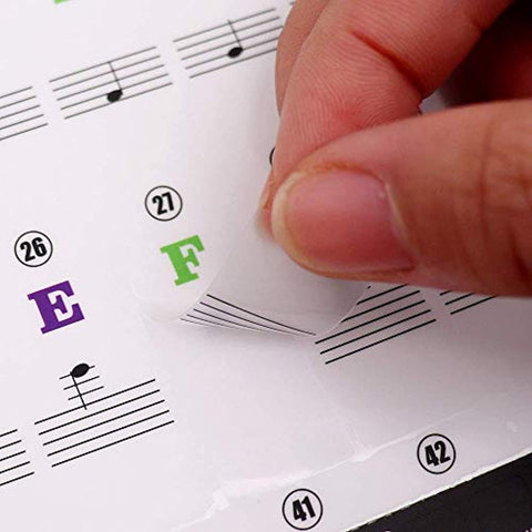 Piano Stickers Labels for 37, 49, 54, 61, 88 Keys Keyboard, Piano Removal Stickers
