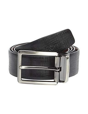 Black 100% Genuine Italian Leather Textured Belt Silver toned Buckle