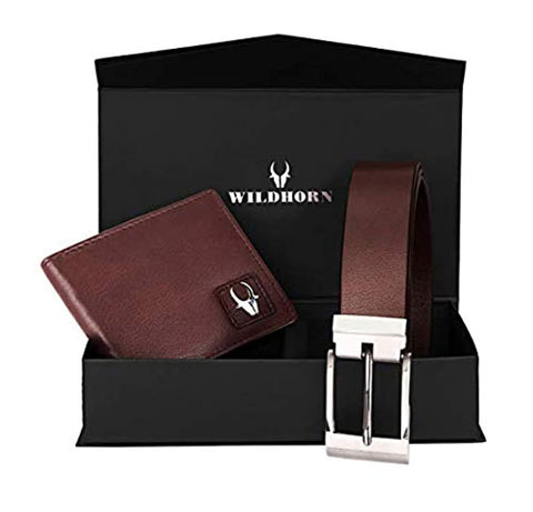 Brown Men's Leather Free Size Belt & Wallet Combo