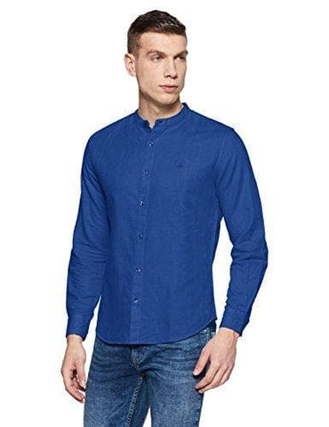 Mandarian Collar Linen Cotton Slim Fit Casual Shirt