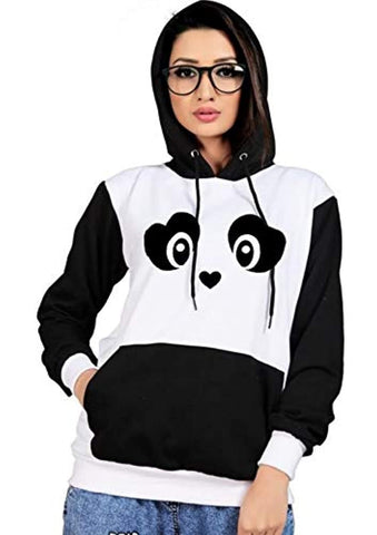 Black Panda Face Printed Unisex Cotton Hoodies  Sweatshirt Pullover