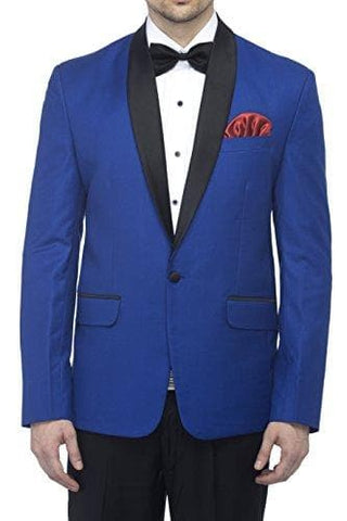 Polyester and Viscose Royal Blue Slim Fit Blazer