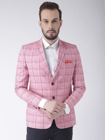 Checkered Single Breasted Polyester Casual Blazer