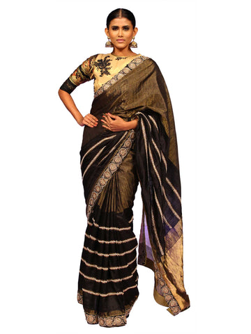 Black Gold Zari Saree With Hand Embroidery by Chandri Mukherjee