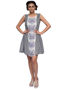White And Persian Blue Printed Dress By Anita Nitin