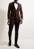 Brown Slim Fit Velvet Contrast Lapel Single Breasted Tuxedo Blazer