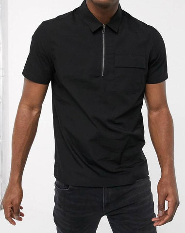 Black zip utility shirt