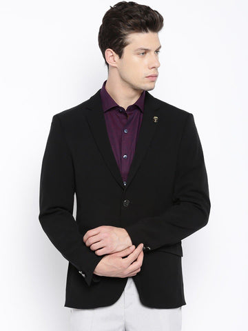 Black Solid Single Breasted Casual Blazer