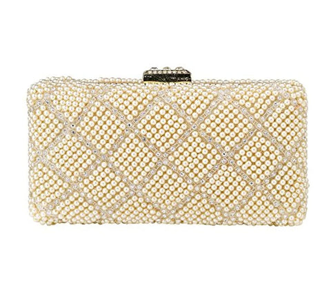 Women's Metal Pearls Rhinestone Party Fashion Evening Hand Box Clutch Bag