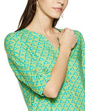 Green Viscose Three Quarter Sleeve Round Neck Tribal Regular Fit Shirt Tunic