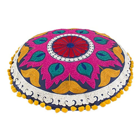 Embroidered Round Cotton Cushion Cover.