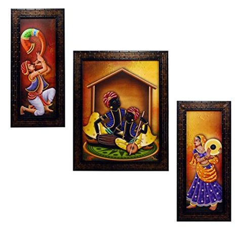 Set of 3 Rajasthani Folk Music & Dance Paintings Without Glass