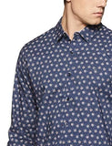 Long Sleeve Printed Slim Fit Casual Cotton Shirt