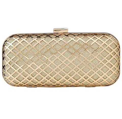 Gold Metal Case Hand Box Clutch for Women