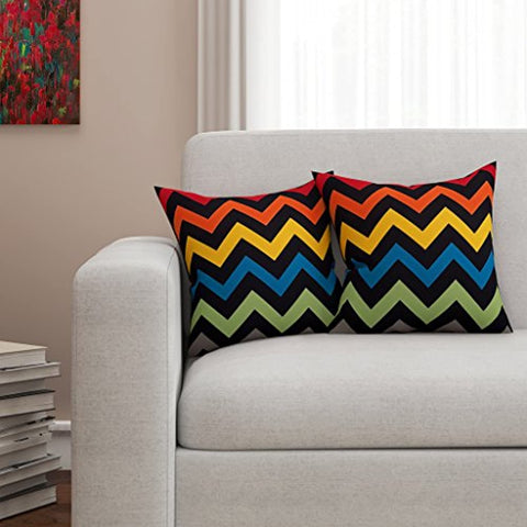 HD Digital Cotton Cushion Covers Black and Red, 16x16 Inches - Set of 2
