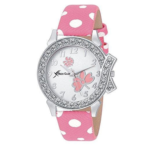 White and Pink Rich Club Analogue White Dial Watch