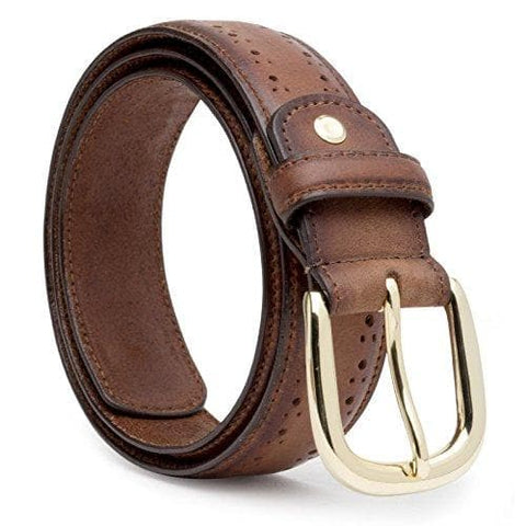 Burnished Leather Belt with brogue perforations-High Brass finish Buckle