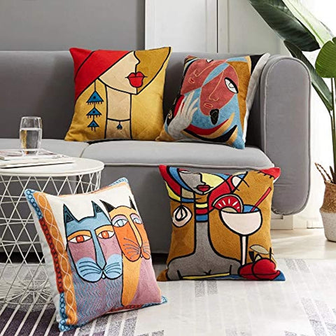 Velvet Cushion Covers set of 4 (16X16 inch_Multicolour)