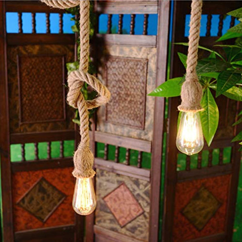 Vintage Jute Metal Hemp Rope Hanging Pendants Ceiling Light