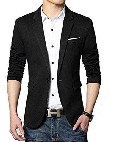 Black One Button Slim Fit Blazer