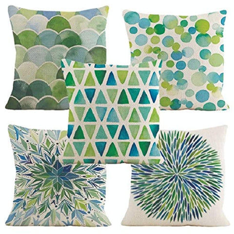 Printed Jute Cushion Cover 16x16 inches -Set of 5