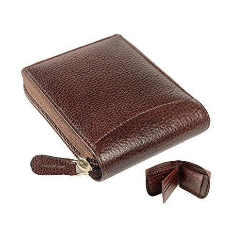 Brown Genuine Leather Round Zip Wallet RFID Blocking