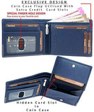 Navy Genuine Leather RFID Blocking Wallet