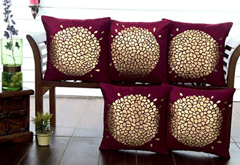 "Velvet Touch Golden Printed Cushion Cover Set - 16"" x 16"", (Wine)"
