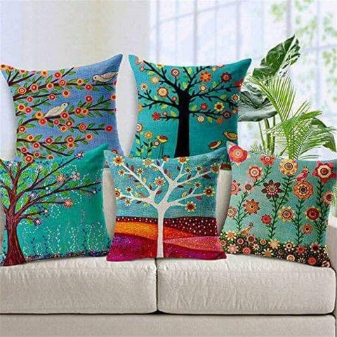 3D Digital Jute Tree Pattern Cushion Cover, 16x16 inches - Set of 5