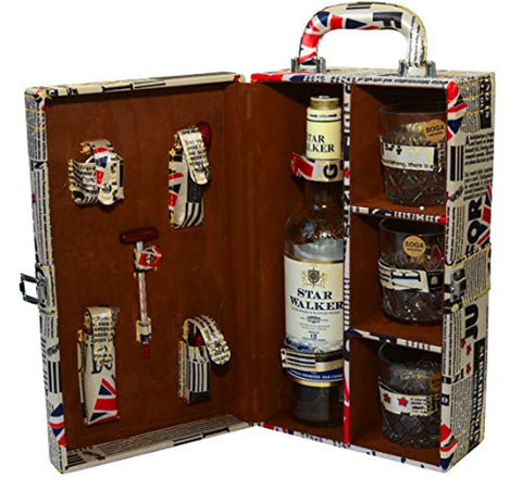 9 Pieces Printed Bar Accessory Set | Portable Bar Box
