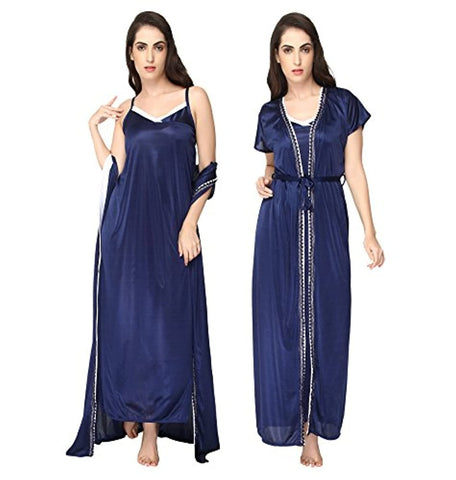 Navy Blue Sleeveless Satin 2 Piece Robe Nightdress Sleepwear