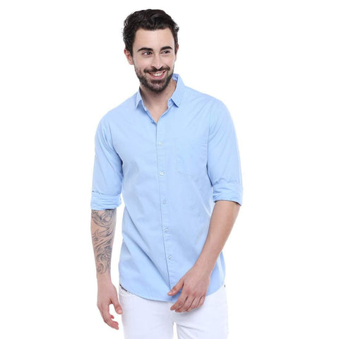 Solid Colour Cutaway Collar Slim Fit Shirt