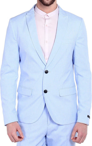 Single Breasted Cotton Polyester Blend Light Blue Blazer