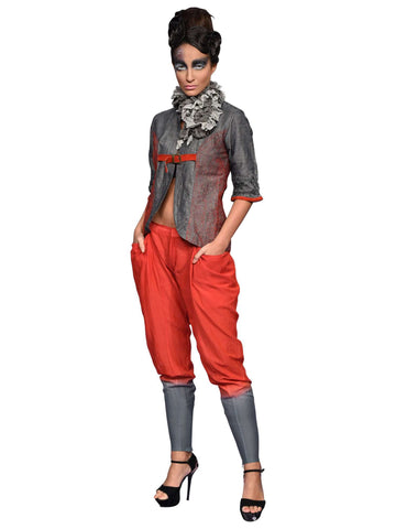 Grey Cotton Silk Jacket And Orange Trouser By Abhishek Dutta