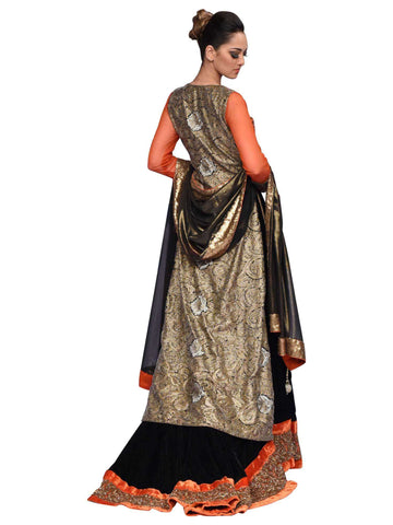 Black And Rust Lehenga By Arshi Jamal