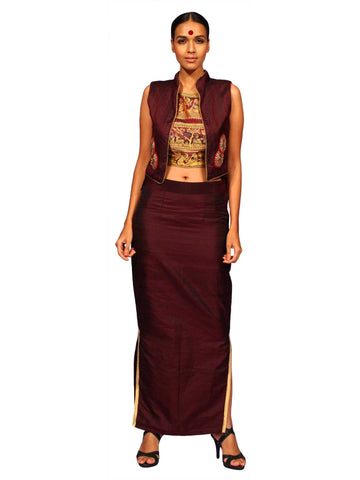 Raw Silk Straight Slit Skirt With Raw Silk Jacket by Chandri Mukherjee